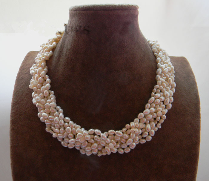 LiiJi Unique 18'' White Rice Baroque Freshwater Pearl Necklace