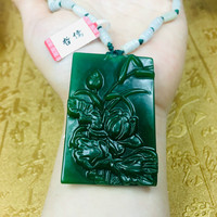 Send A level national certificate Natural Hetian Biyu carved green page lotus fish pendant Three color jade bead chain