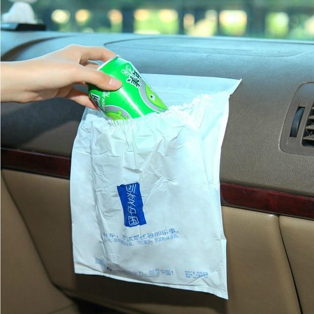 2packs Vehicle Garbage Bag Portable Folding Desktop Trash Bags Adhesive Car Plastic Waste Bin Outdoor