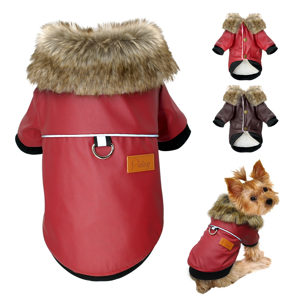 Waterproof Dog Clothes Leather Coat Winter Dog Jacket Coat For Small Dogs Pets Pug French Bulldog Schnauzer Roupa Cachorro