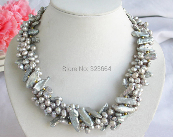 4row 17.5 25mm gray biwa dens rice Freshwater cultured pearl necklace
