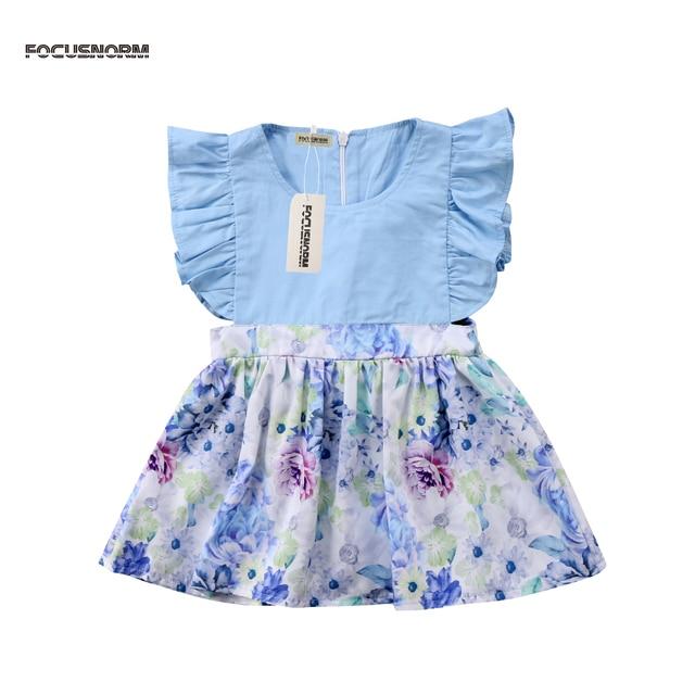 f04ea1c372fb New Pretty Newborn Baby Girl Princess Dress blue Floral print summer ...