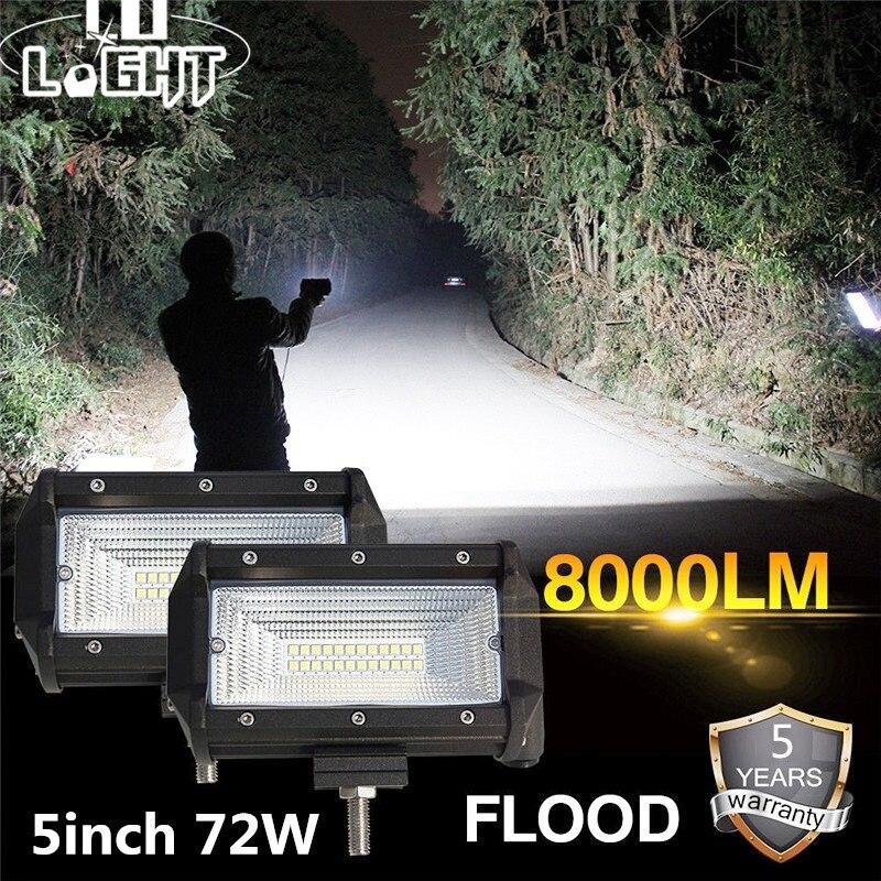 CO lumière LED travail lumière 72W 5 pouces 8000LM lumière d'inondation LED Bar pour voiture tout-terrain pick-up Lada 4x4 Uaz ATV Auto conduite lumière 12V 24V