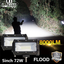 Co Licht Led Verlichting 72W 5 Inch 8000LM Flood Led Light Bar Voor Offroad Auto Pickup Lada 4X4 Uaz Atv Auto Rijden Licht 12V 24V