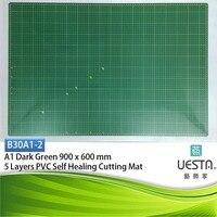A1 90 60 센치메터 36 24 인치 어두운 녹색 3.0 미리메터 사각형 자기 치유 5 층 PVC 절단 매트 디자인 그리