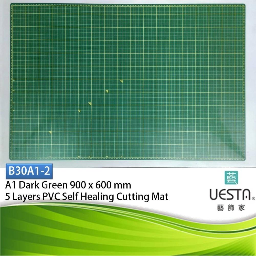 A1 90 da 60 cm 36 da 24 pollice Verde Scuro 3.0mm Rettangolo Self Healing 5 Strati PVC Tappetino di Taglio Disegno griglia