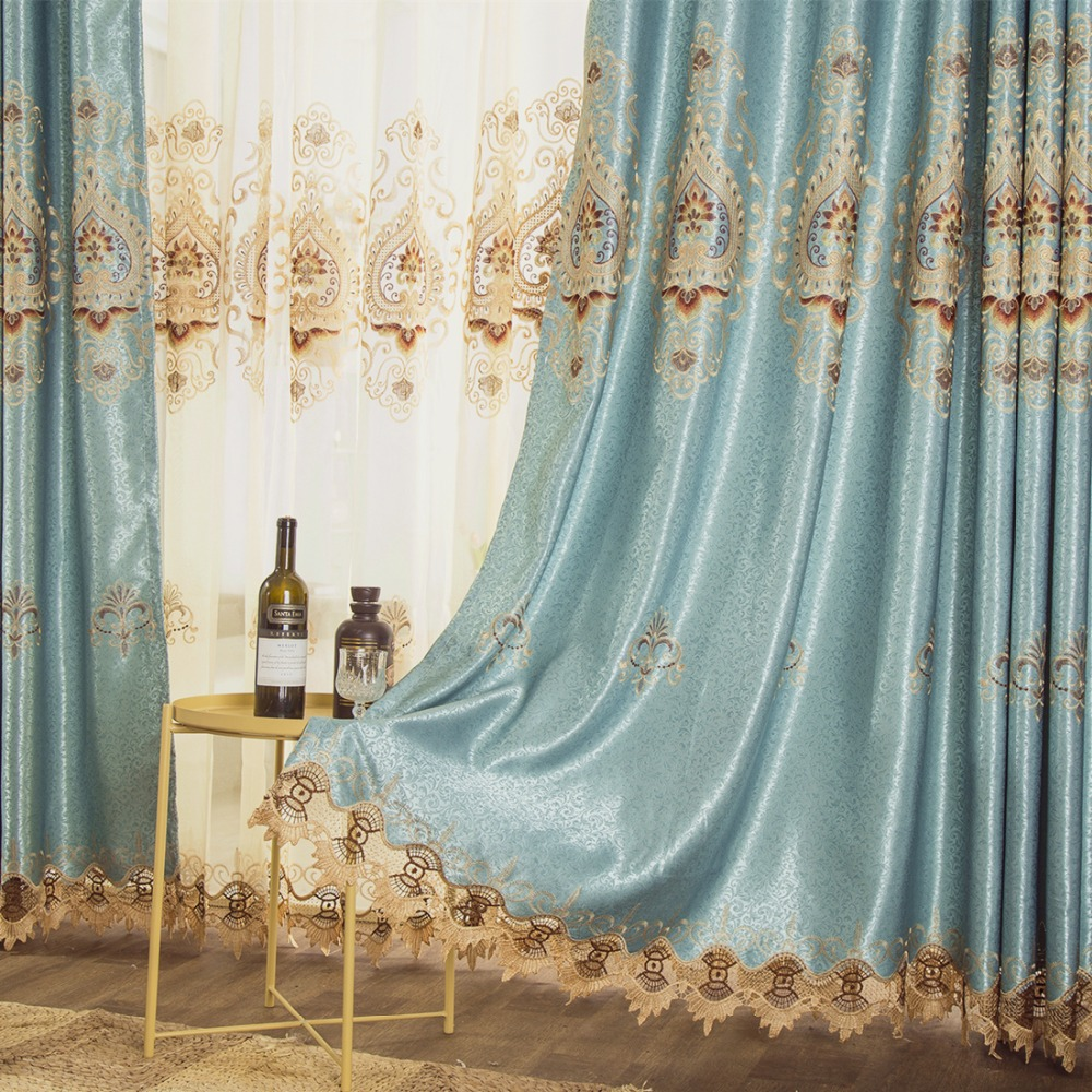 Custom curtains luxury high quality European pastoral embroidery blue smooth cloth blackout curtain drapes tulle sheer N065Custom curtains luxury high quality European pastoral embroidery blue smooth cloth blackout curtain drapes tulle sheer N065