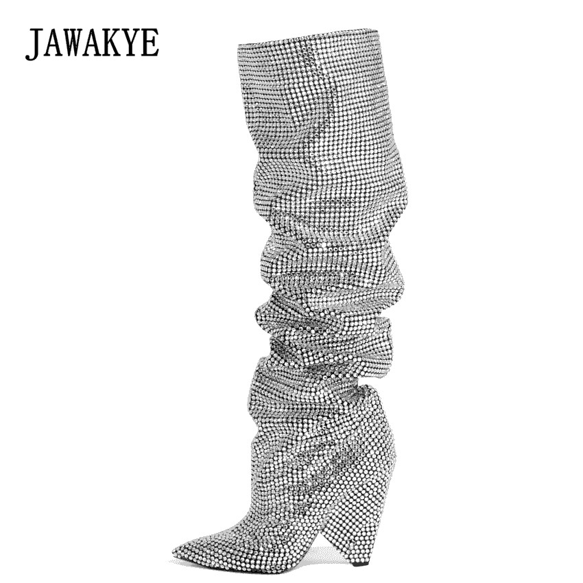 New Silver Crystal Knee high Boots Women Pointed Toe Full Rhinestones shinny Wedding Shoes Sequined Thigh High Boots JAWAKYE trendy metal and rhinestones design women s knee high boots