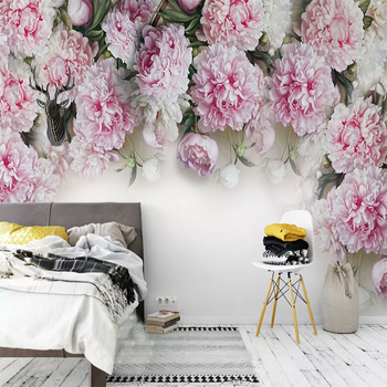 Custom European Romantic Peony Flower 3D Mural Wallpaper Roll Living Room Bedroom Decoration Art Wall Covering Papel De Parede girls bedroom embossed wallpaper pink background wall 3d wallpaper pvc roll classic flower wall paper peony floral wall covering