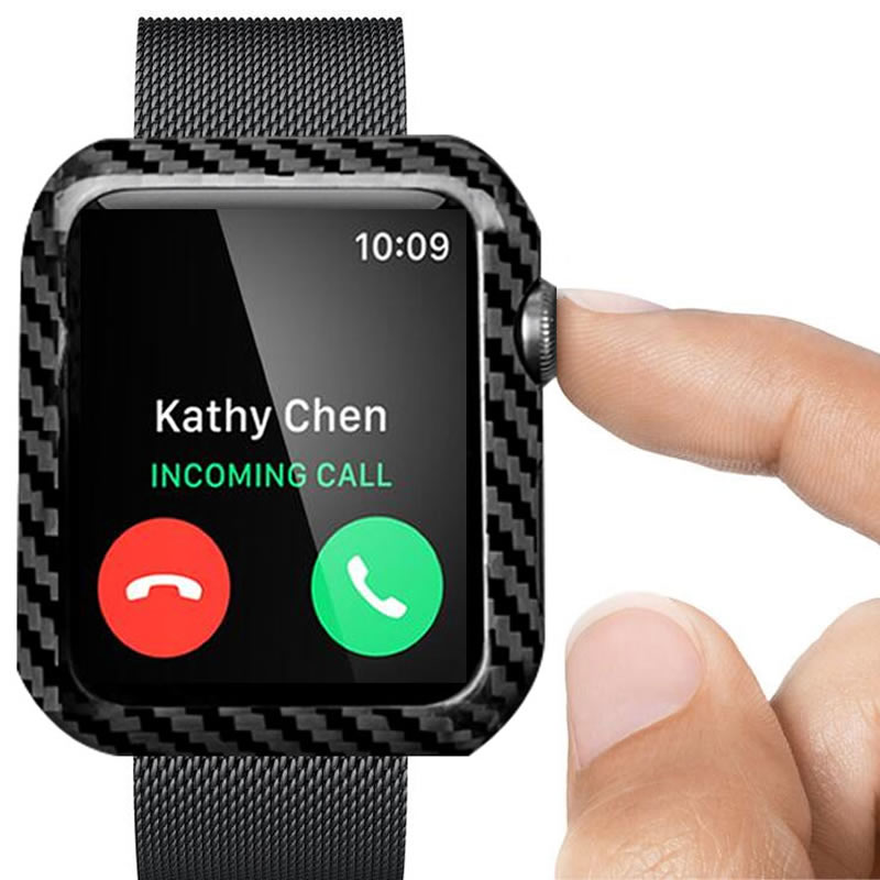 For Apple Watch Carbon Fiber Cover Case Series 4 3 44mm 42mm 38mm Luxury Ultra Thin Genuine Carbon Fibre Cover For iWatch in Watchbands from Watches