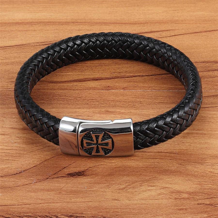 Xqni pulseira masculina de couro genuíno, preta, cor cruz, padrão fivela de liga, pulseira para homens, aço inoxidável, joias finas, escultura