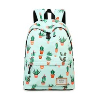 Water Resistant Fashion Cactus Printed School Backpack with 15.6 Laptop Sleeve Cute Bookbag for Girls