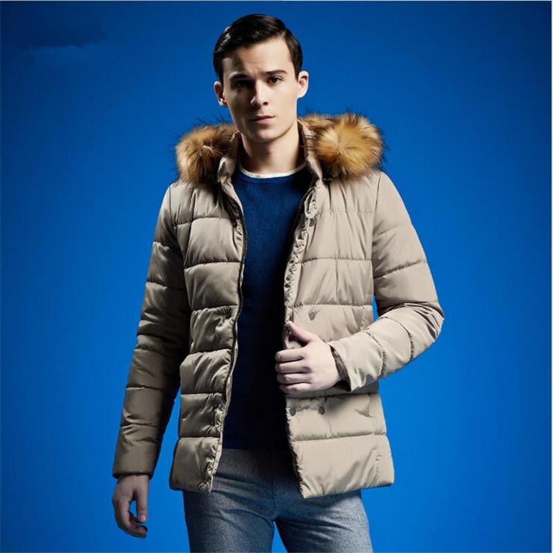 ФОТО New Fashion Men's Winter Coat 2017 High Quality Long Section Green Cotton Padded Large Male Hooded Fur Collar Men Coat A2384