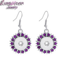 Hot Sale Rhinestones 12mm Snaps Button For Women Charms White K Plated Design Snaps Earrings Jewelry