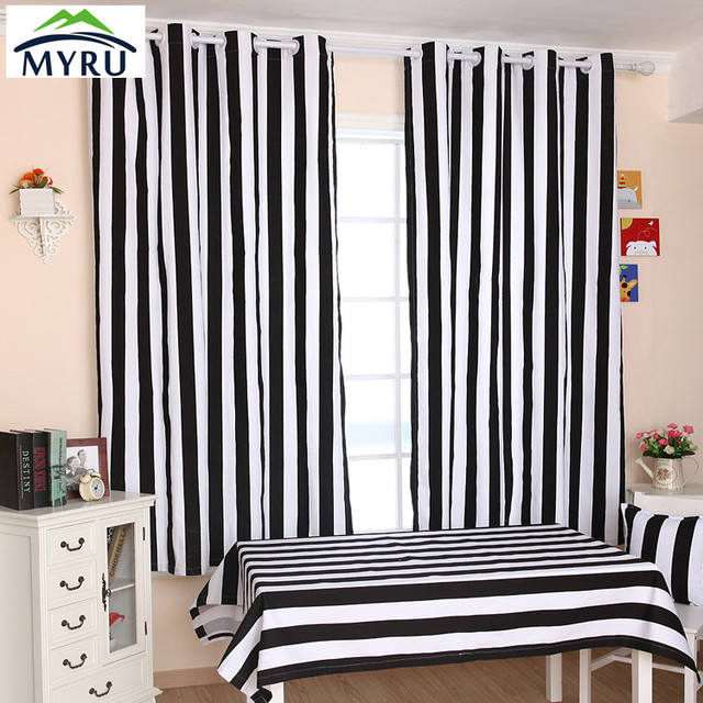 MYRU Many size cloth curtain black and white striped curtains bedroom living room curtains free shipping