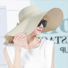 Простая элегантная Стильная летняя большая соломенная шляпа с полями для взрослых женщин и девочек, модная Солнцезащитная шляпа с УФ-защитой, защищающая большой бант, летняя пляжная шляпа