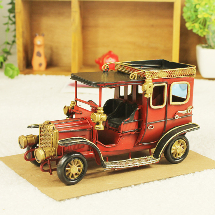 ФОТО Ford vintage car model tin iron car ornaments retro vintage car iron car model gift for children