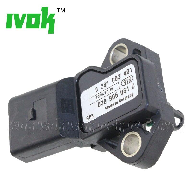 100 Test Intake Air Boost Pressure Map Sensor For Audi VW Seat Skoda 0281002401 038906051C 0