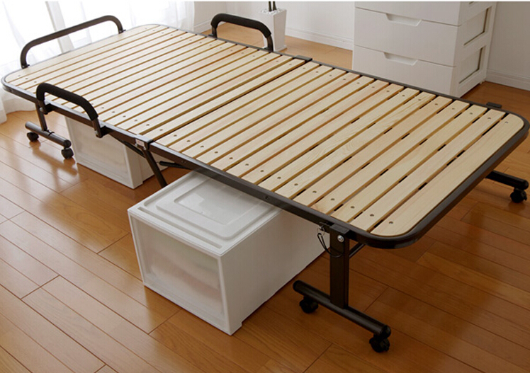 Japanese Tatami Metal Folding Bed Frame With Caters Bedroom