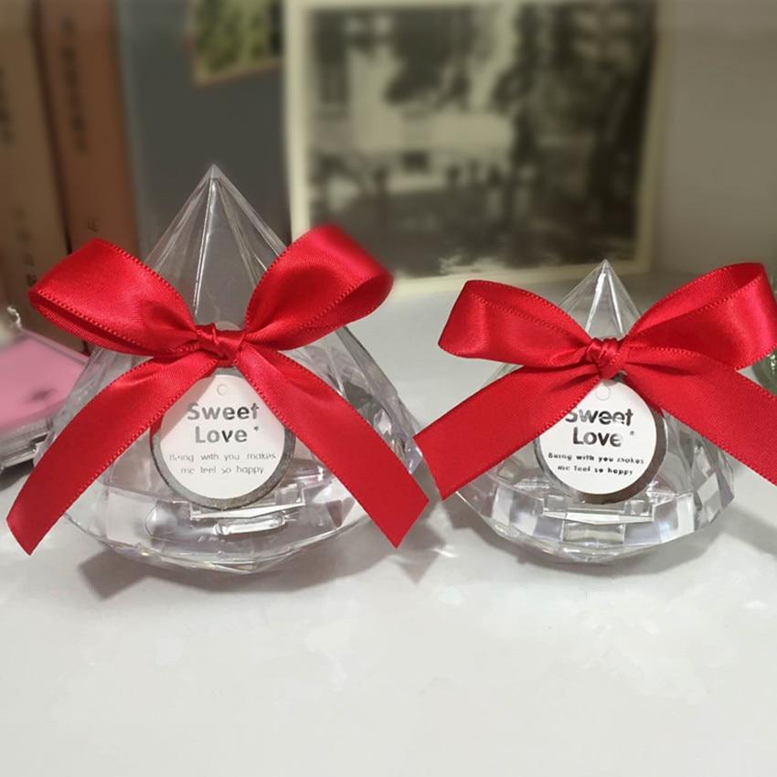 20pcs Clear Diamond Candy Box Wedding Favour Boxes Transparent