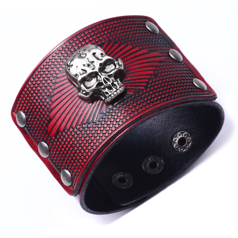 Bracelet en cuir véritable Viking crâne 1