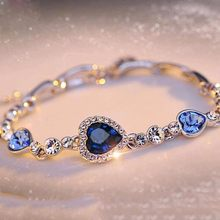 KISSWIFE Hottest Womens Ladies Crystal Rhinestone Bangle Ocean Blue Bracelet Chain Heart Jewelry A Direct Sale(China)