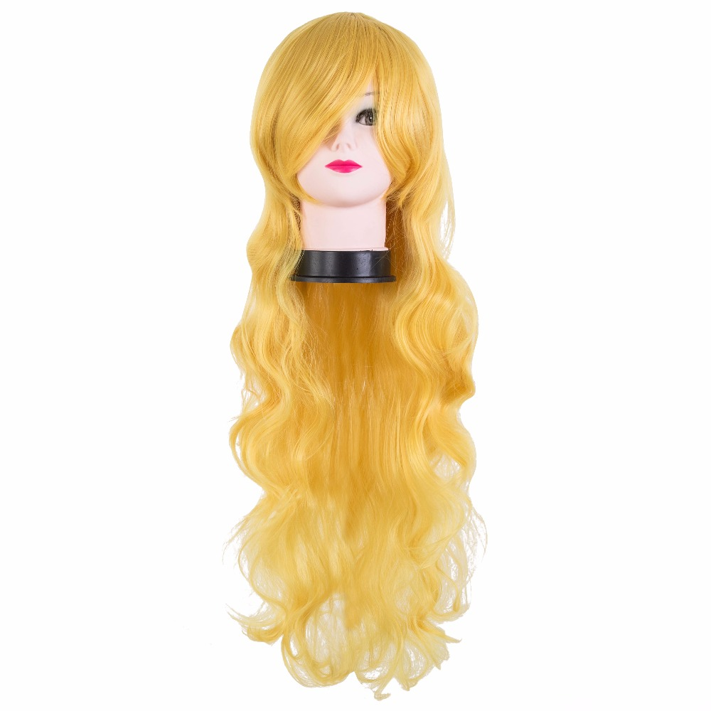 Hair Extensions & Wigs Fei-show Synthetic Heat Resistant Medium Yellow Blonde Wavy Wig Inclined Bangs Hair Costume Cosplay Carnival Halloween Hairpiece Synthetic None-lacewigs