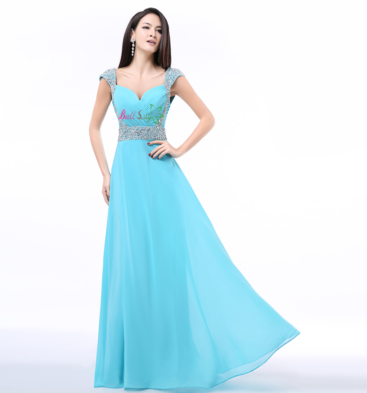 Vestido madrinha2017 new chiffon sexy V neck cap sleeves beaded a line turquoise blue black orange violet bridesmaid dress long