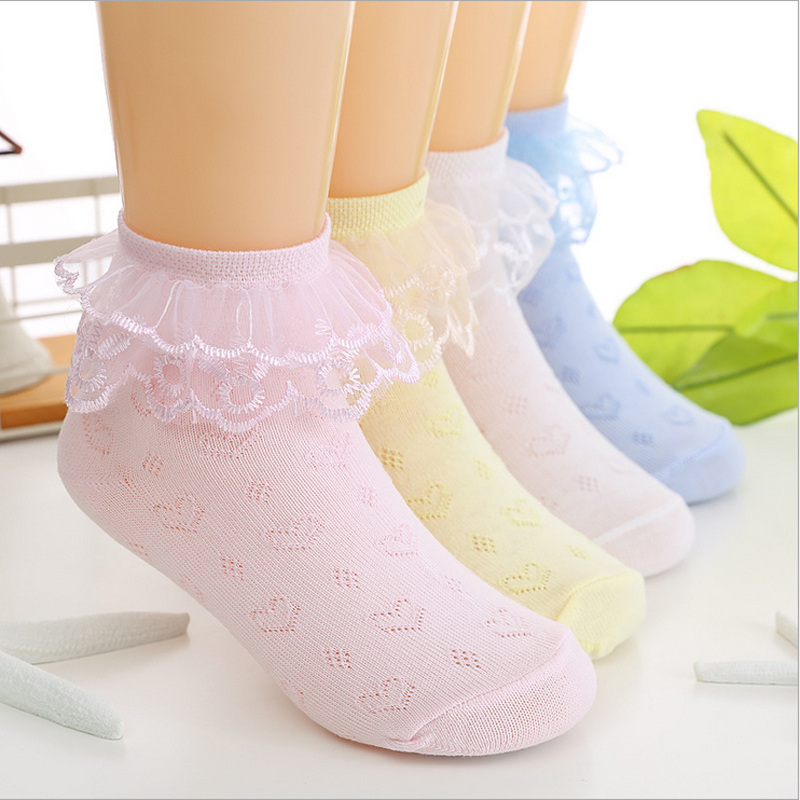 4pairs/lot summer baby girls kids toddler white pink lace ruffle princess mesh socks children thin breathable short ankle sock