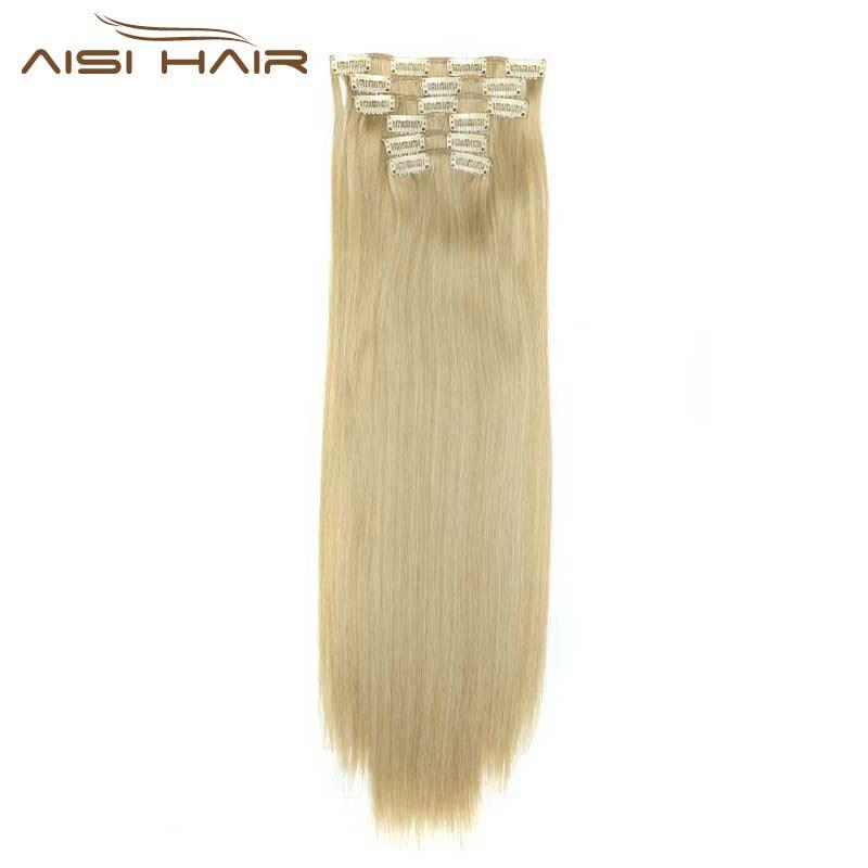 """אני של פאה בלונד סינטטי קליפים בהארכת שיער ארוך ישר 22 """"140 גרם 16 קליפים שווא שיער חתיכות מצח שחור לבן צבע"""