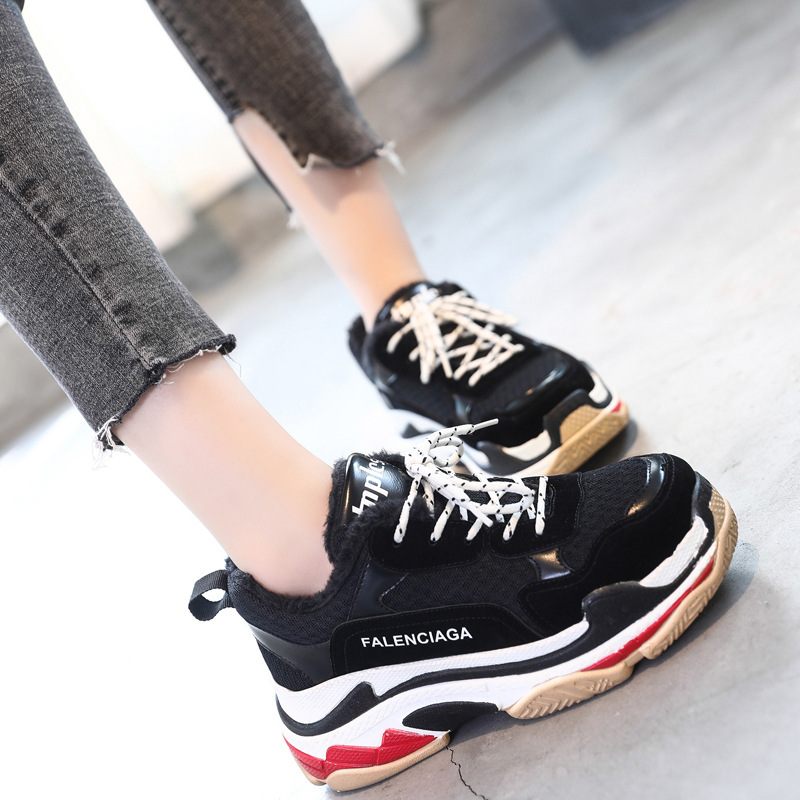 Sneakers Woman Winter Korean Ulzzang Original Old 2017 New Pattern Street Time Chalaza Increase Down Keep Warm Women's Shoes sneakers woman 2018 spring and autumn season new pattern korean plate thick bottom chalaza casual old women s shoes
