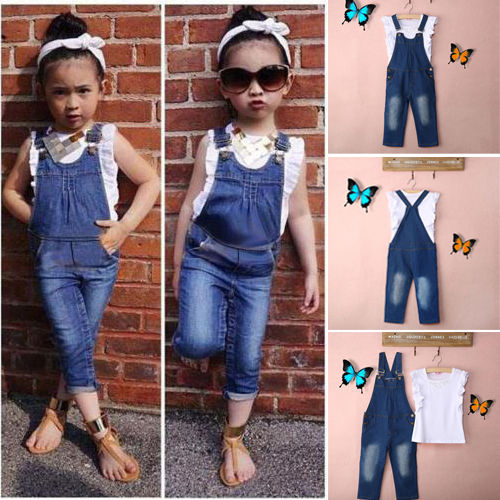 >Vest + <font><b>Jeans</b></font> Summer 2pcs Girls Clothes Set Dungarees <font><b>White</b></font> Vest Tops Overalls Denim Pants <font><b>Outfits</b></font> Children Clothes Sets
