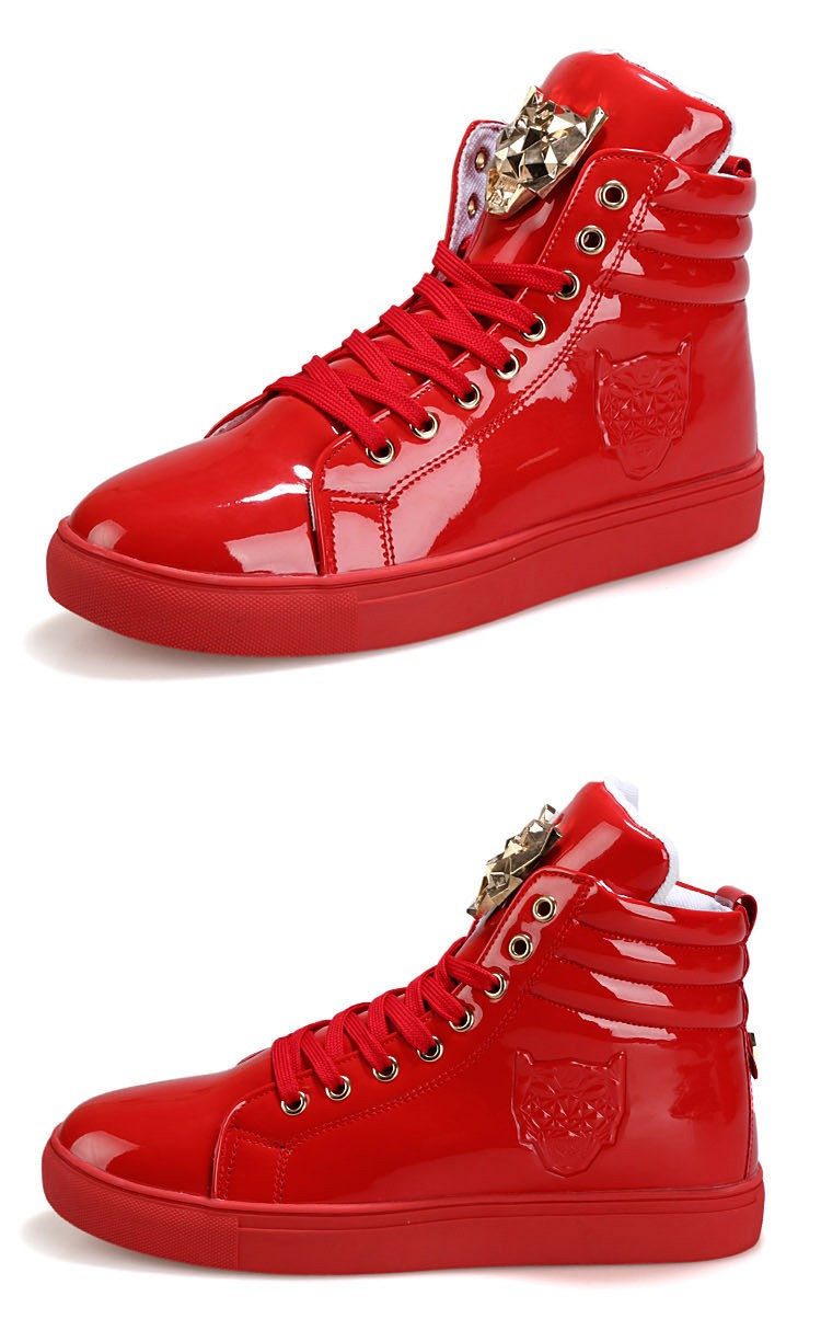 Fashion Leopard Sequined Skate Shoes For Men Ankle Boots 2015 New PU Patent Leather Shoe High Top Casual Flats Medusa Shoes F184 (11)