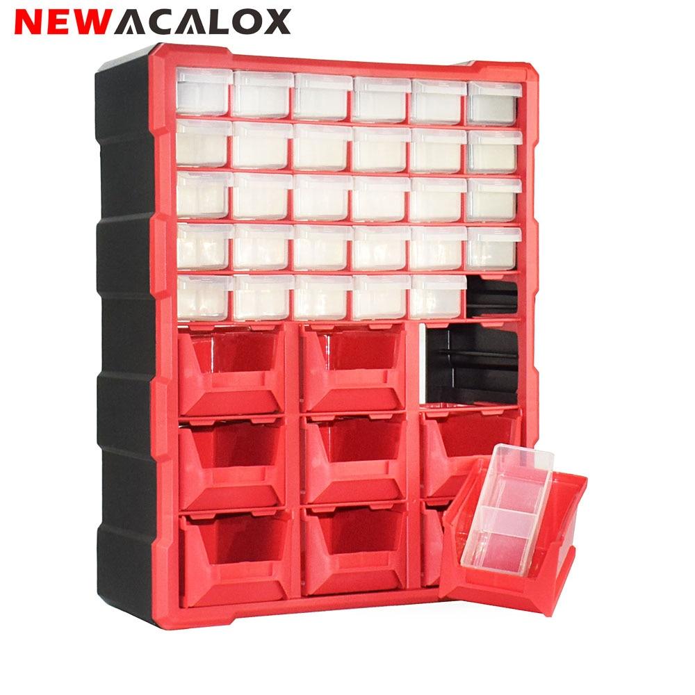 NEWACALOX 39 Drawer Plastic Small Parts Storage Bin Organizer Hardware And Craft Cabinet Teacher Tool Box Multi Casket Tool Case