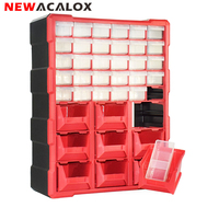 NEWACALOX 39 Drawer Plastic Small Parts Storage Bin Organizer Hardware and Craft Cabinet Teacher Tool Box Multi Casket Tool Case