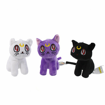 "Cute 7"" Anime Sailor Moon the Cat Luna Artemis 17cm White/Black/Purple Stuffed Toy Kids Plush Doll Soft Toys"