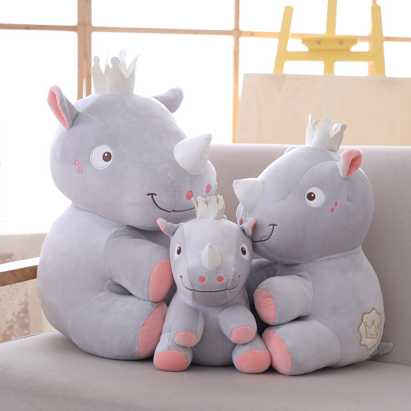 1PC 25 38 48CM High Quality Rhinoceros Plush Toy Baby Sleeping Appease Stuffed Toys Doll Kids Christmas Birthday Gift Home Decor in Stuffed Plush Animals from Toys Hobbies
