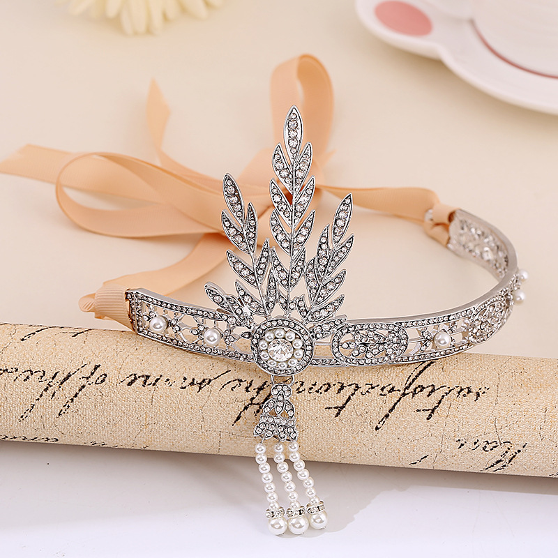 The Great Gatsby Bridal Hair Accessories Crystal Pearl Tassels Hair Headbands Hair Jewelry Wedding Brides Hairband Tiaras Crowns