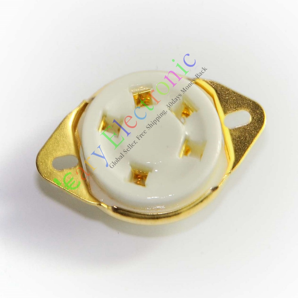 Wholesale and retail 12pc 5pin Gold Ceramic Tube Sockets for 807 5-21 US style audio amps diy guitar
