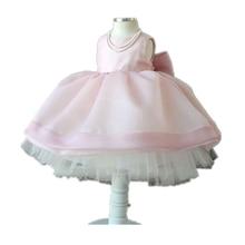 BBWOWLIN Pink Sleeveless Flower Girl Dresses for 0 2 Years Baby Girl Vestido Infantil Birthday Party
