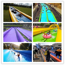2017 Hot sales 100m Long double lane inflatable water slide/urban slide/slide the city