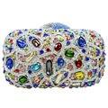 LaiSC Dot pattern кристалл вечерние сумки женщины Роскошные пром сцепления сумка шипованных алмаз вечерние клатчи кошелек партия сумочка SC125