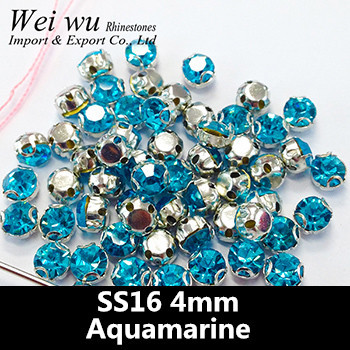 Hight Quality Glass Stones SS16 1440pcs Aquamarine Round Sew On Rhinestones In Claw
