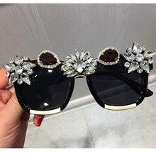 Personnalisé cristal luxe lunettes de soleil femmes Bling strass surdimensionné carré lunettes de soleil marque lunettes Vintage nuances dames