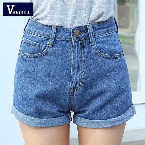 High Waist Denim Shorts Size XL Female Short Jeans for Women 2016 Summer Ladies Hot Shorts solid crimping denim shorts Pakistan