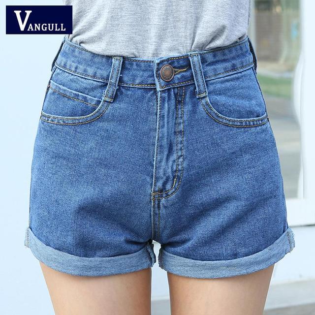 Spodenki jeansowe wysokiej talii rozmiar XL spodenki damskie krótkie dżinsy dla kobiet 2016 letnie panie gorące spodenki solidne zapinane spodenki jeansowe