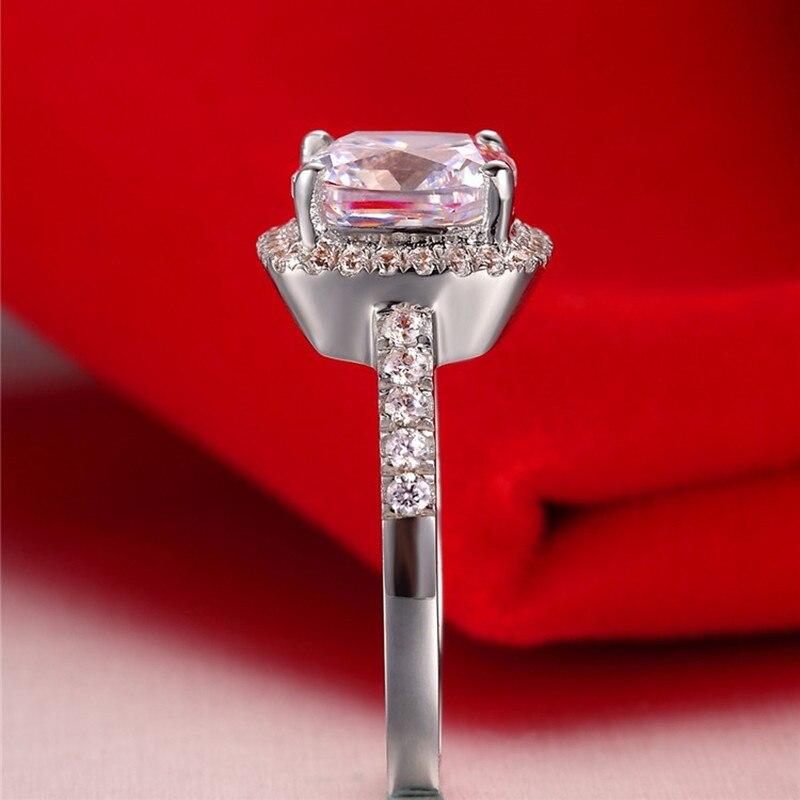 AINUOSHI Luxury 3 Carat Engagement Halo Rings Princess Stlye Cushion - მოდის სამკაულები - ფოტო 6