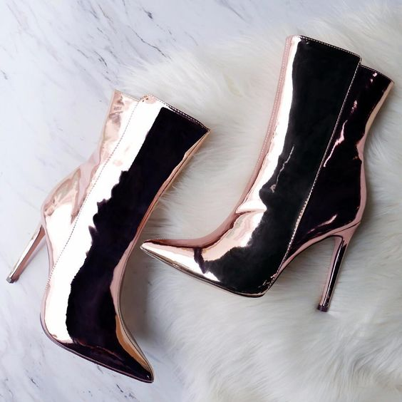 87c2cd27c94d Ladies Street Shot Style Popular Ankle Boots Pointed Toe Silver Champagne Gold  Patent Leather Dress Boots Rose Gold Elegant Shoe