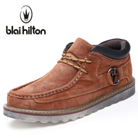 Blaibilton Autumn Winter Genuine Leather Casual Men Shoes Snow Warm Velvet Vintage Classic Male Platform Thick