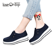 Loveontop Autumn women flat platform shoes s thick soled suede leather female casual shoes lace up flats creepers ladies